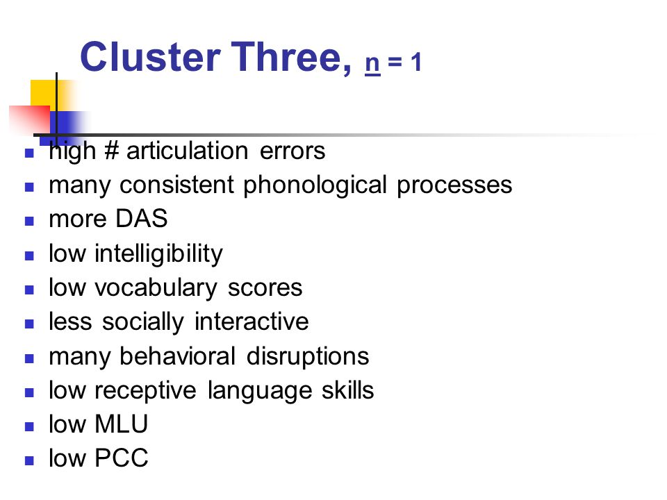 Cluster Three, n = 1 high # articulation errors