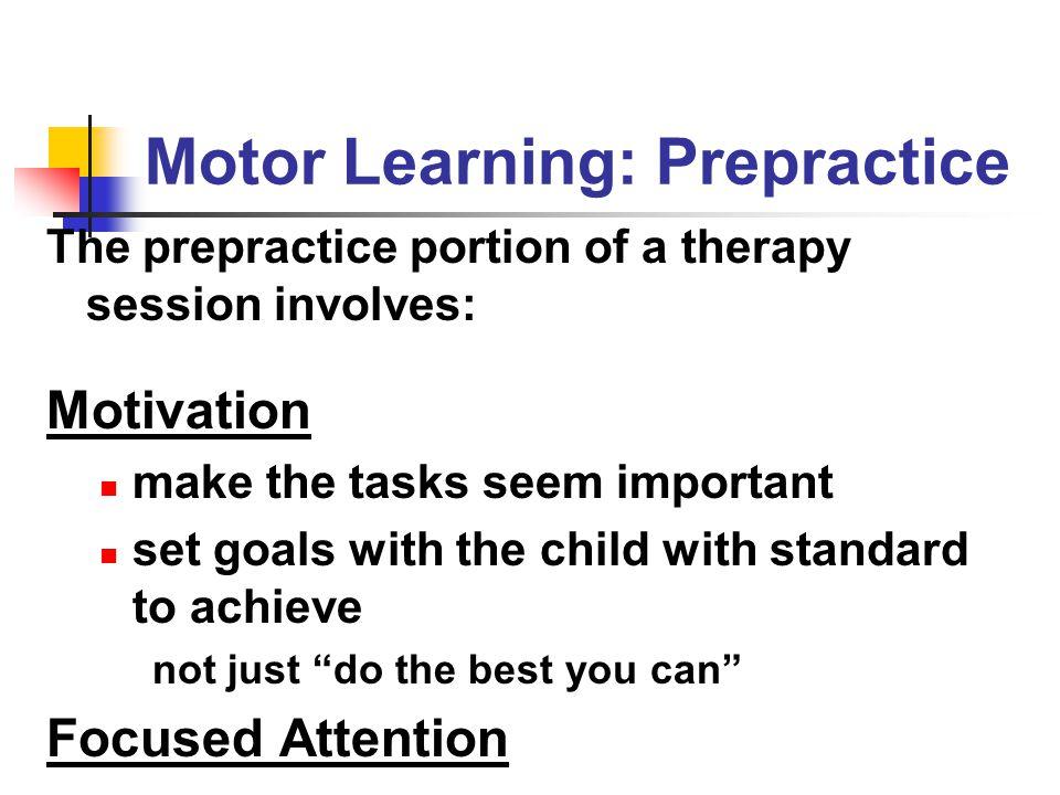 Motor Learning: Prepractice