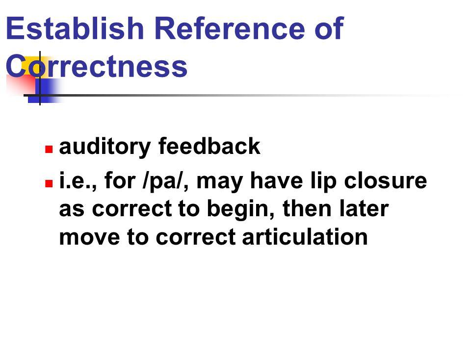 Establish Reference of Correctness