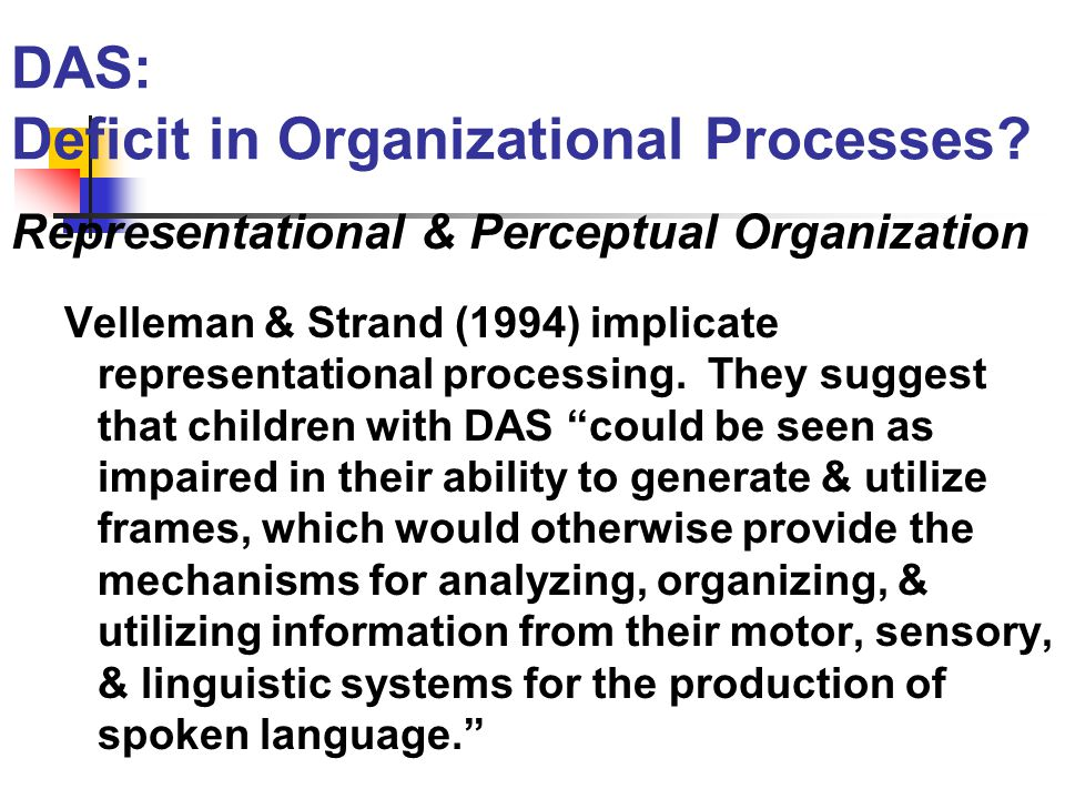 DAS: Deficit in Organizational Processes