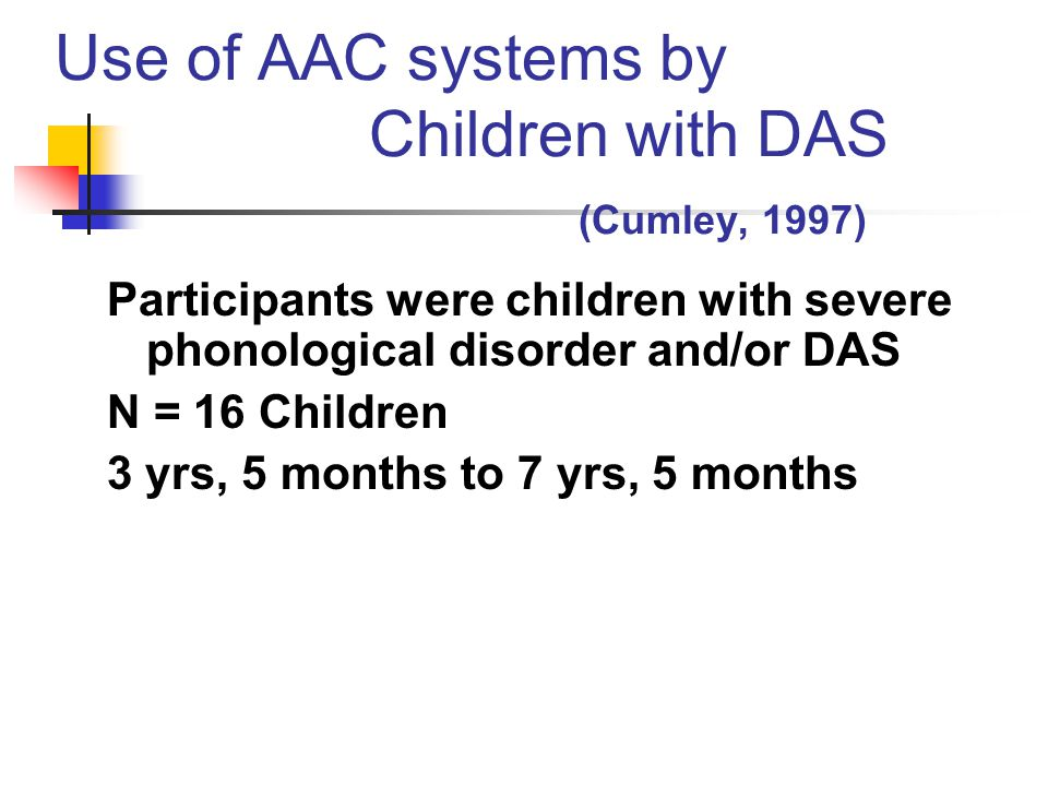 Use of AAC systems by Children with DAS (Cumley, 1997)