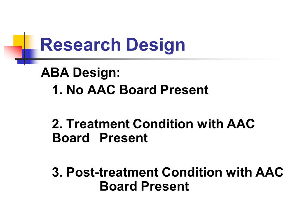 Research Design ABA Design: 1. No AAC Board Present
