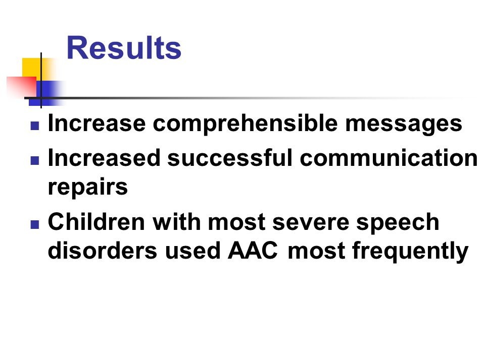 Results Increase comprehensible messages