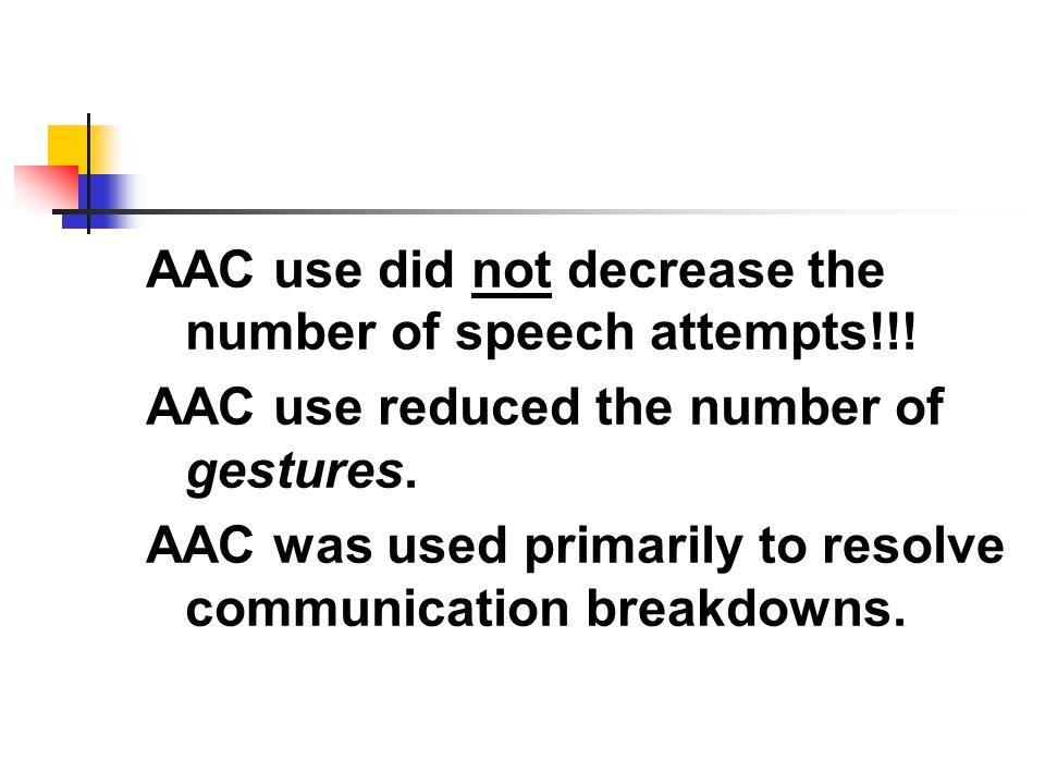 AAC use did not decrease the number of speech attempts!!!