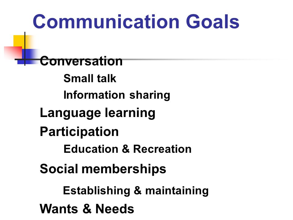 Communication Goals Establishing & maintaining Conversation