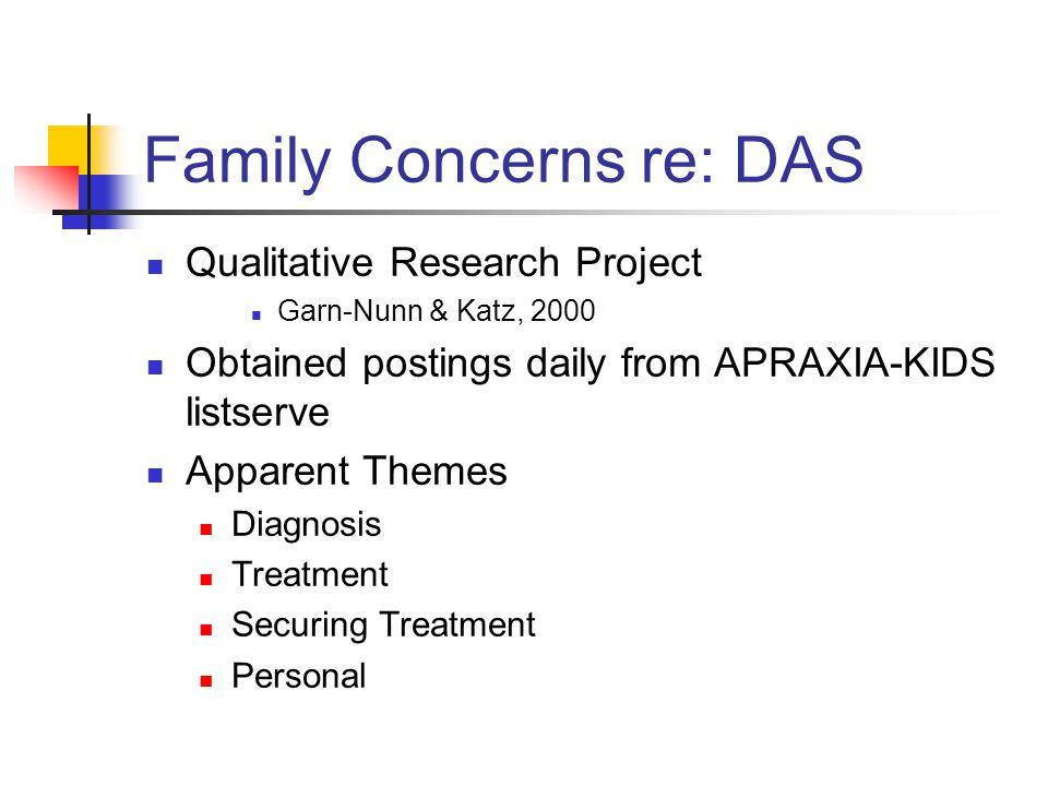 Family Concerns re: DAS