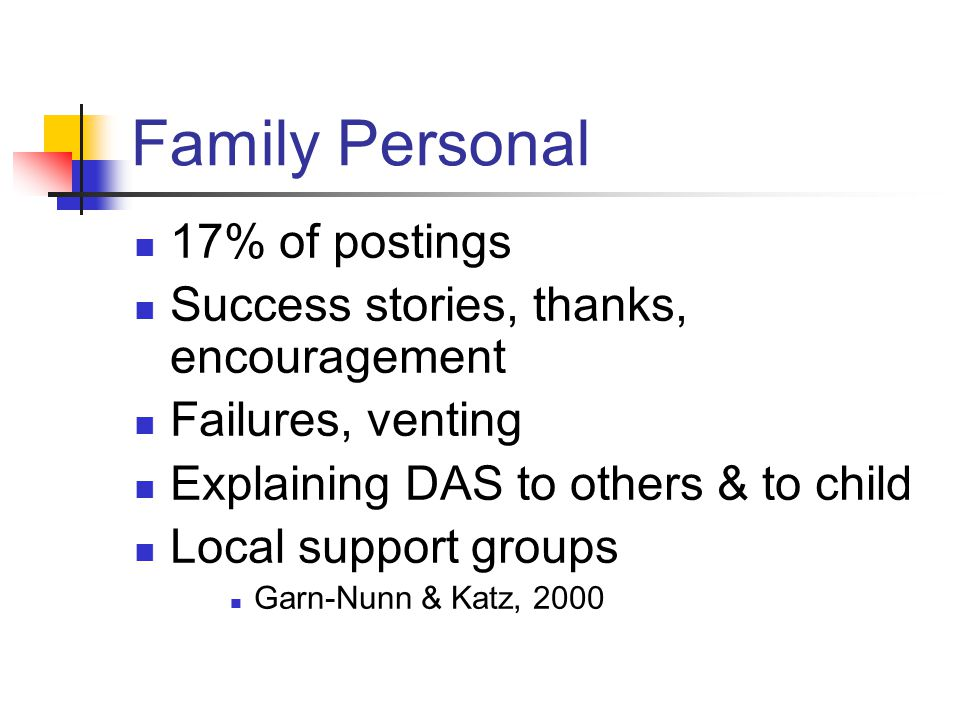 Family Personal 17% of postings Success stories, thanks, encouragement