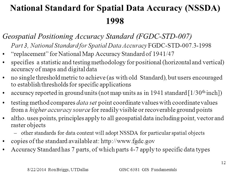 National Standard for Spatial Data Accuracy (NSSDA) 1998