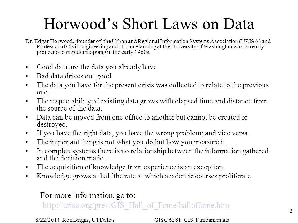 Horwood's Short Laws on Data