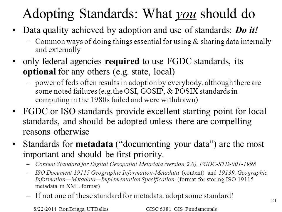 Adopting Standards: What you should do