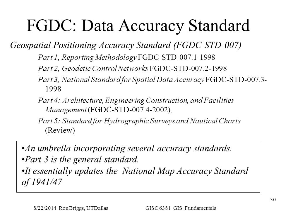 FGDC: Data Accuracy Standard