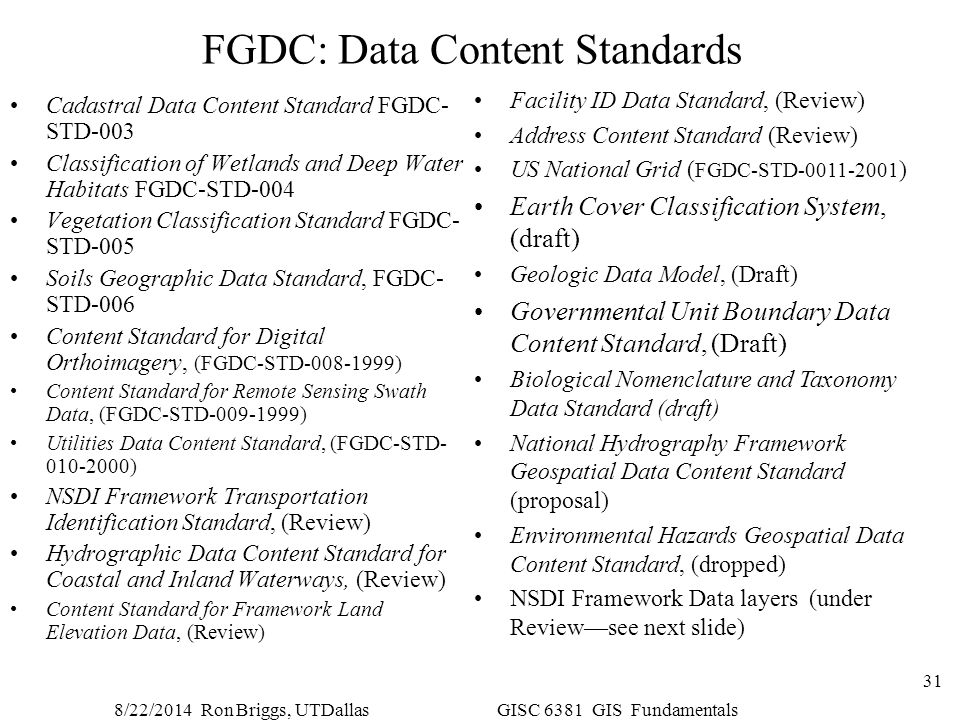 FGDC: Data Content Standards