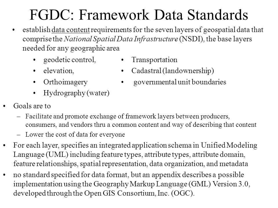 FGDC: Framework Data Standards