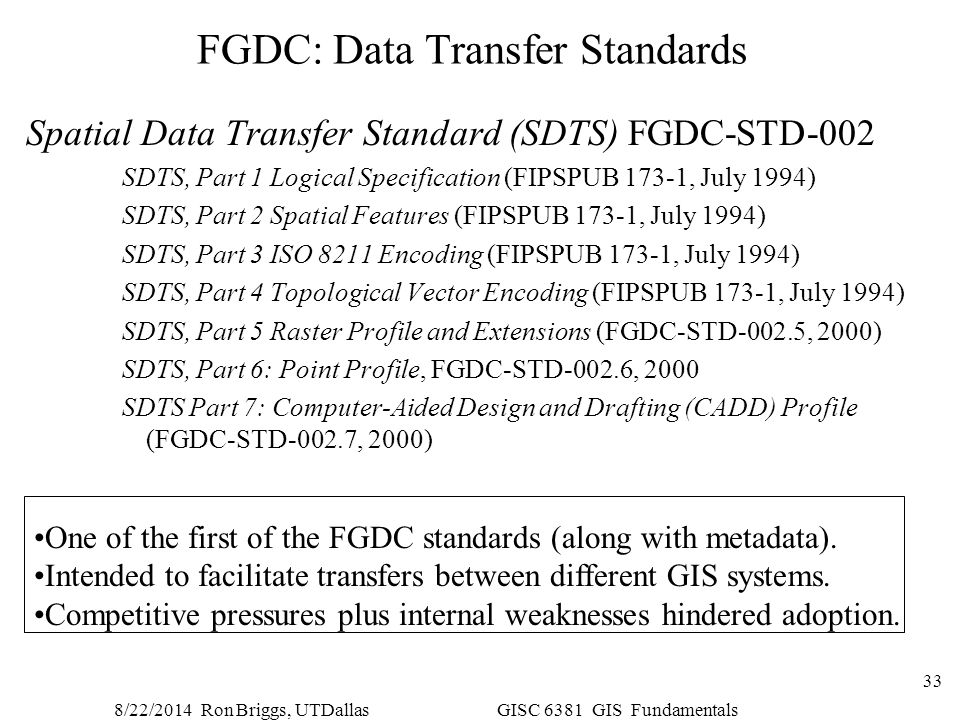 FGDC: Data Transfer Standards