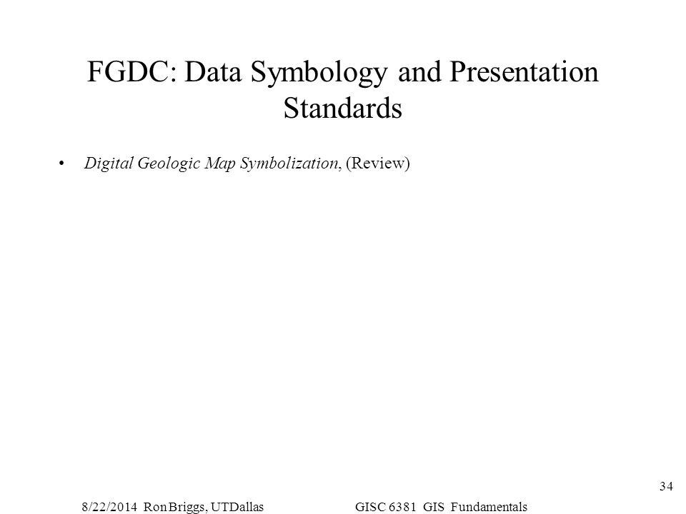 FGDC: Data Symbology and Presentation Standards
