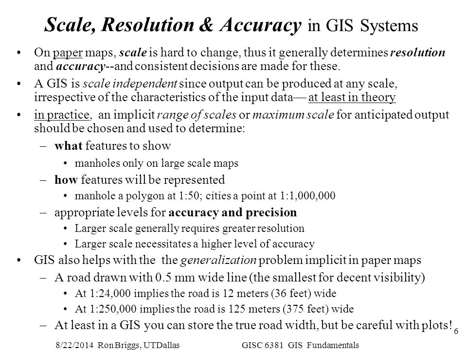 Scale, Resolution & Accuracy in GIS Systems