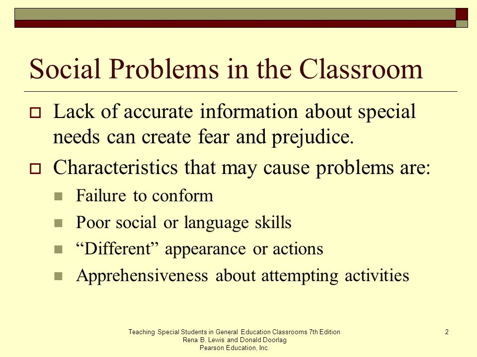 Social Problems in the Classroom