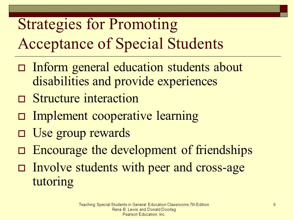 Strategies for Promoting Acceptance of Special Students
