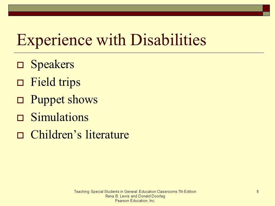 Experience with Disabilities