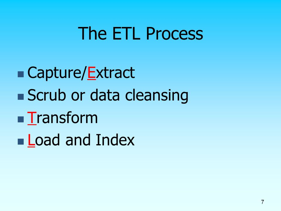 The ETL Process Capture/Extract Scrub or data cleansing Transform