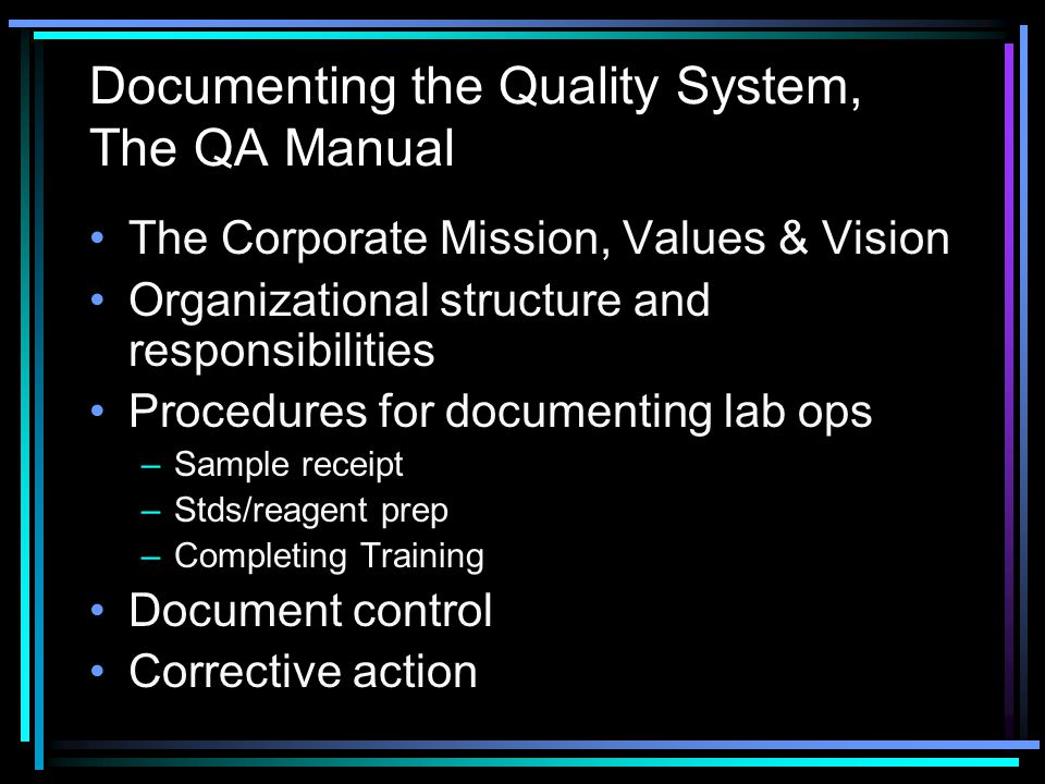 Documenting the Quality System, The QA Manual
