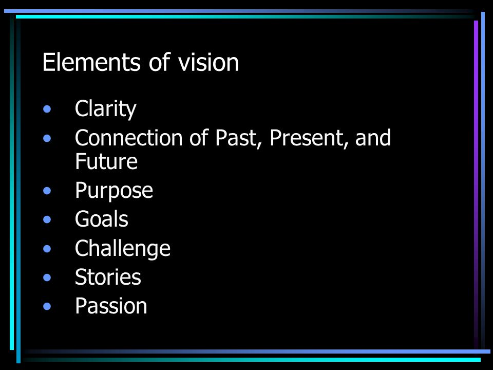 Elements of vision Clarity Connection of Past, Present, and Future
