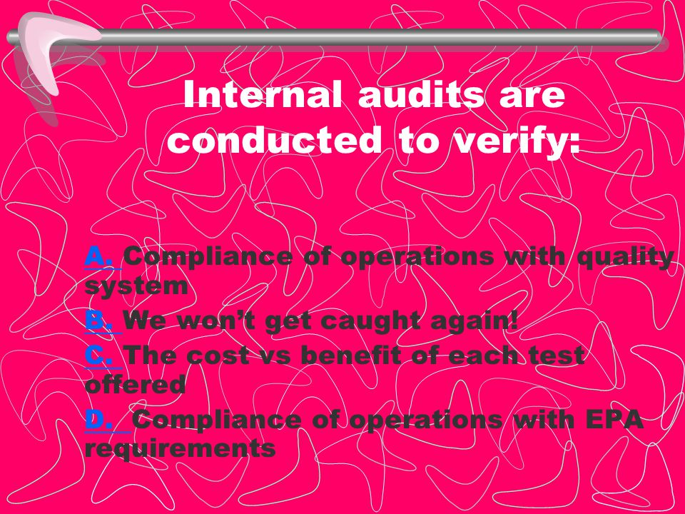 Internal audits are conducted to verify: