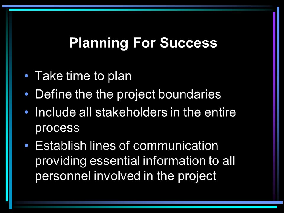Planning For Success Take time to plan