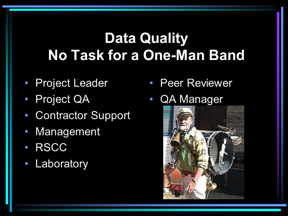 Data Quality No Task for a One-Man Band