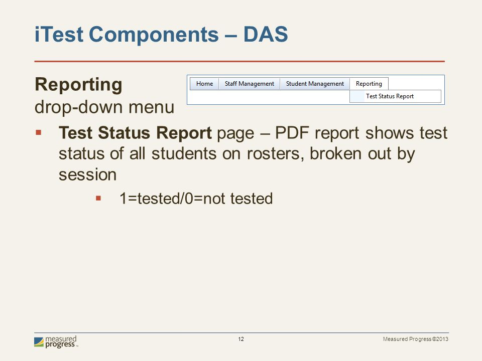 iTest Components – DAS Reporting drop-down menu