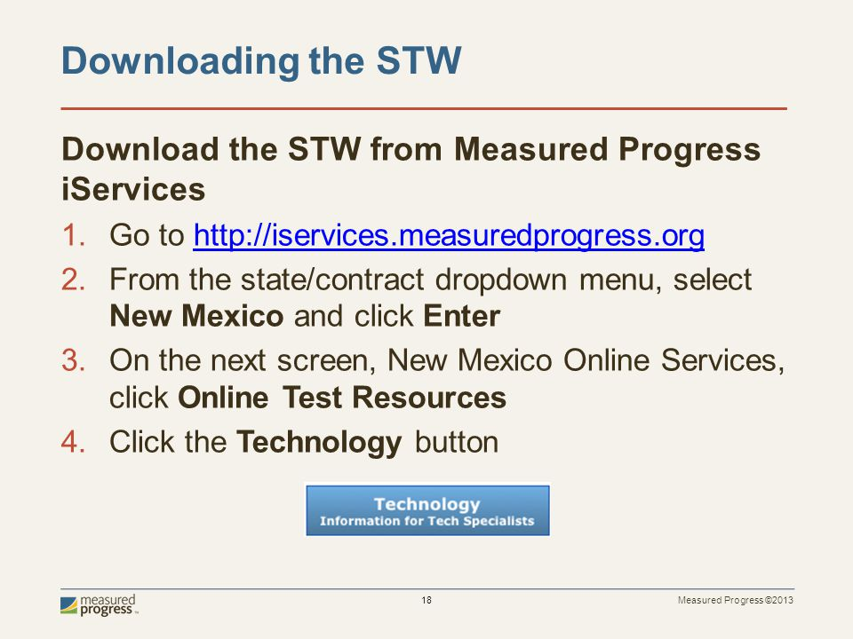 Downloading the STW Download the STW from Measured Progress iServices