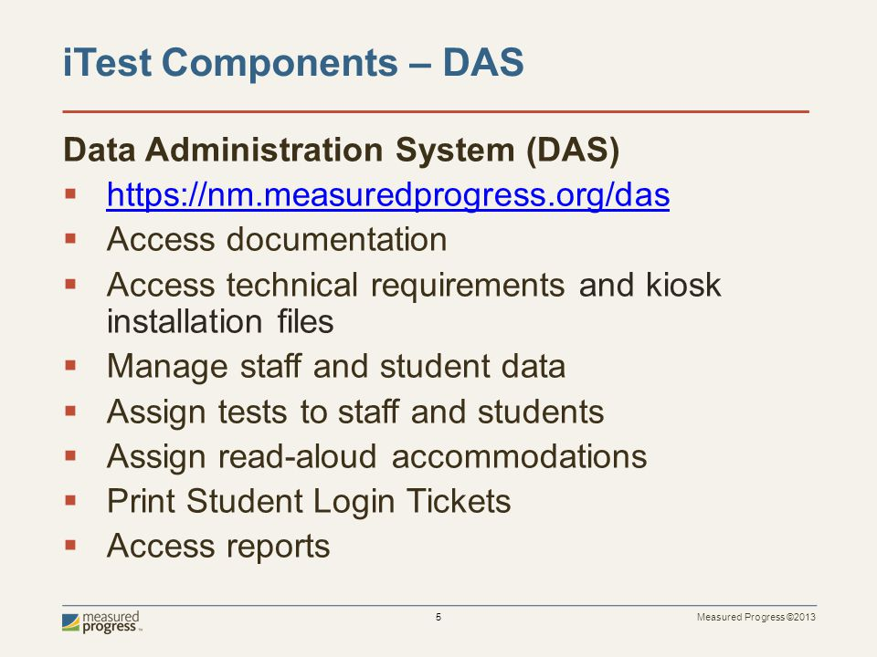 iTest Components – DAS Data Administration System (DAS)