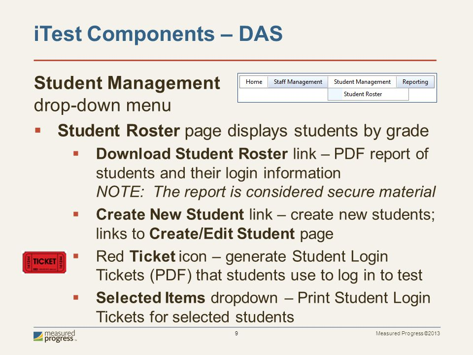 iTest Components – DAS Student Management drop-down menu