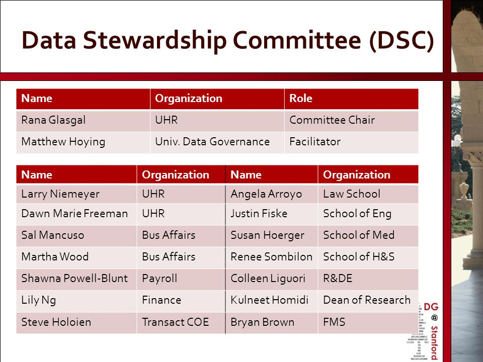 Data Stewardship Committee (DSC)