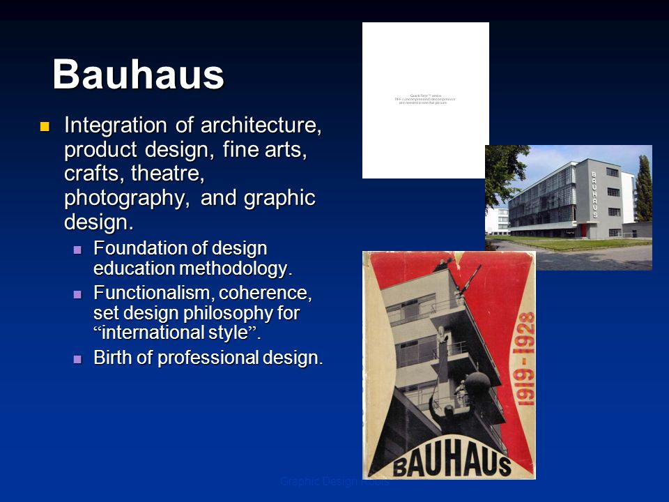 Bauhaus Integration of architecture, product design, fine arts, crafts, theatre, photography, and graphic design.