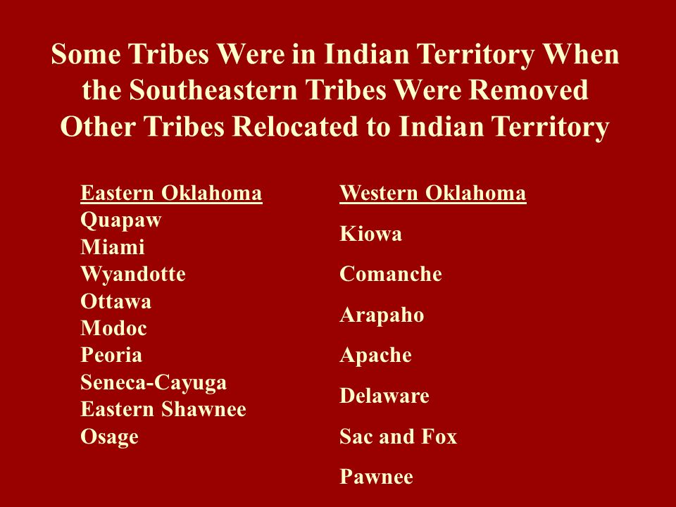 Other Tribes Relocated to Indian Territory