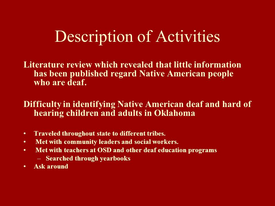 Description of Activities