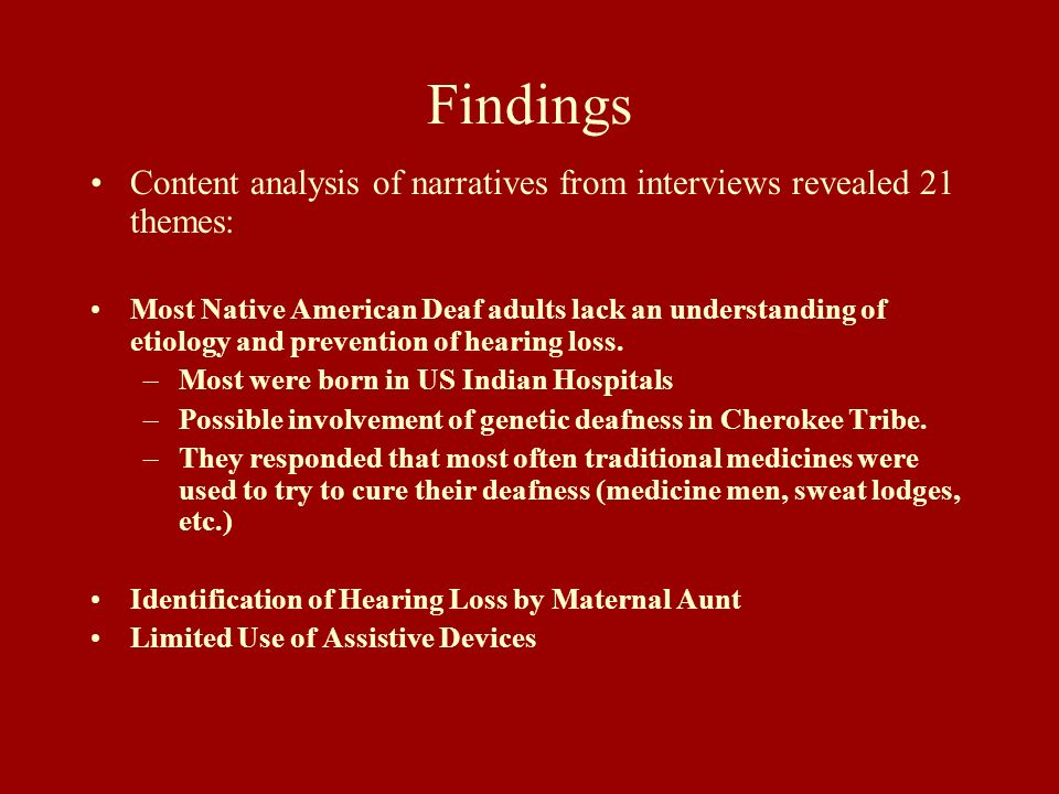Findings Content analysis of narratives from interviews revealed 21 themes: