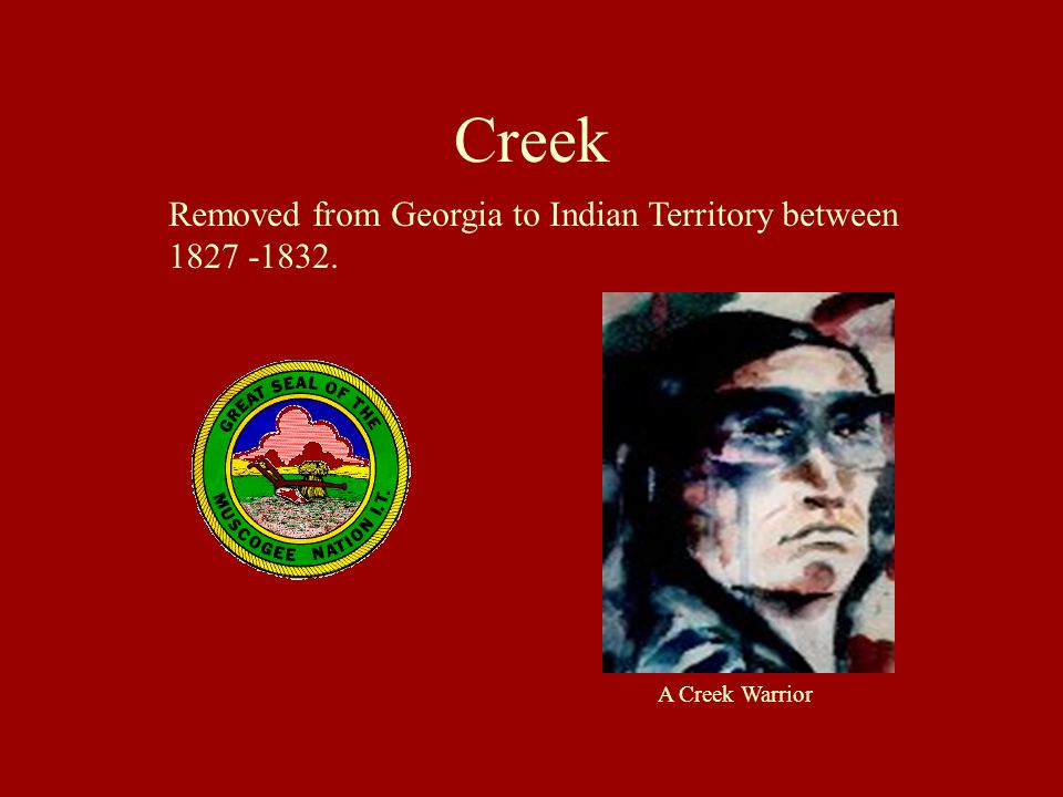 Creek Removed from Georgia to Indian Territory between 1827 -1832.