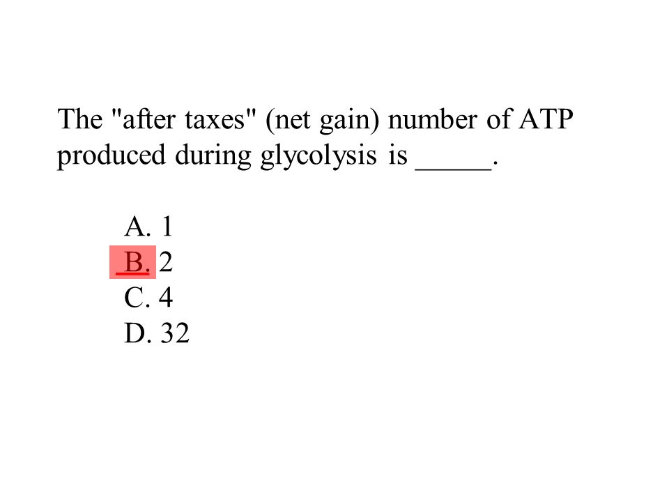 The after taxes (net gain) number of ATP produced during glycolysis is _____. A. 1 B. 2 C. 4 D. 32