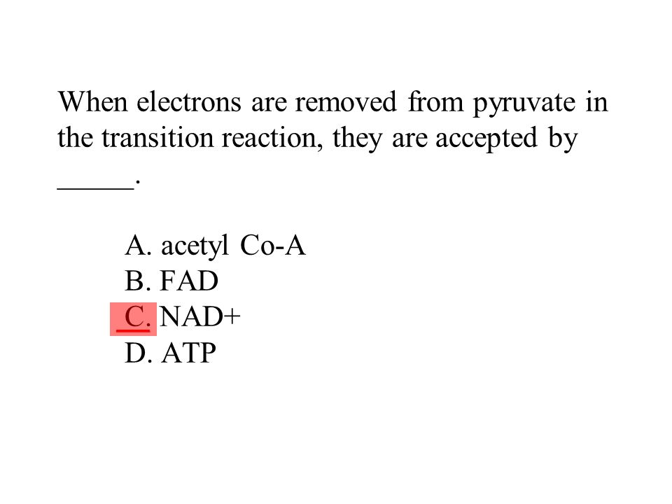 When electrons are removed from pyruvate in the transition reaction, they are accepted by _____. A. acetyl Co-A B. FAD C. NAD+ D. ATP