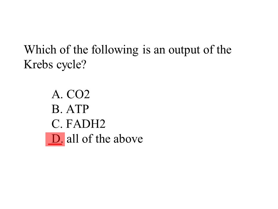 Which of the following is an output of the Krebs cycle A. CO2 B. ATP C. FADH2 D. all of the above