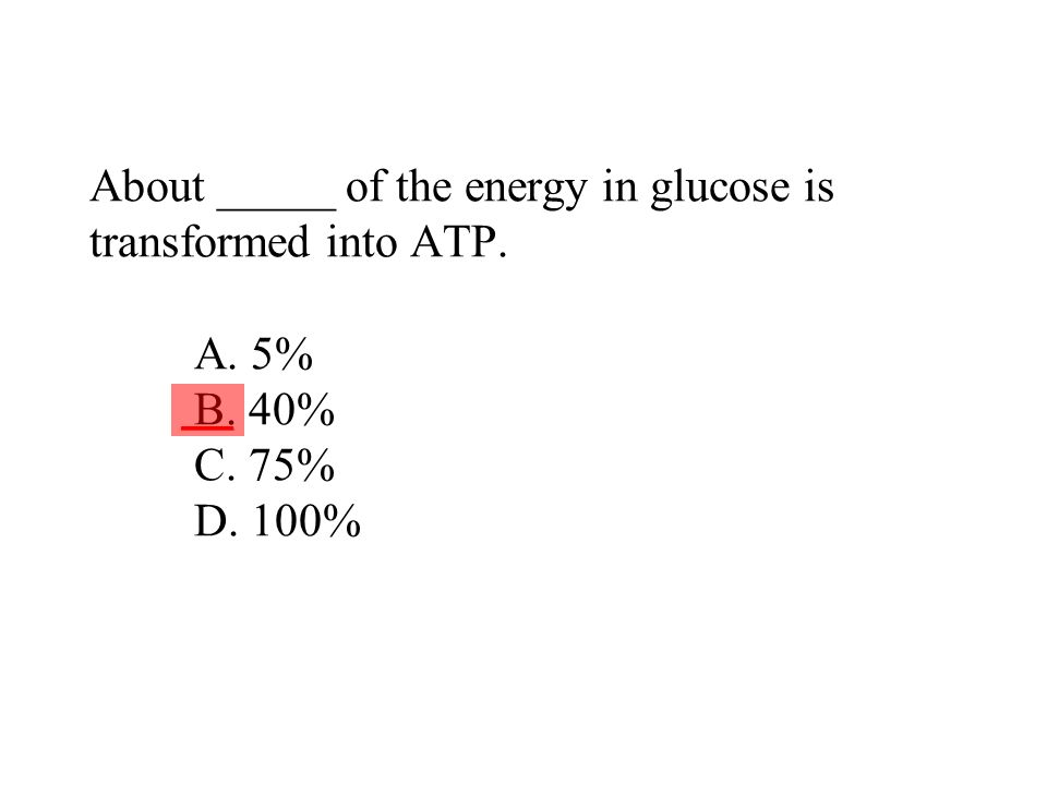 About _____ of the energy in glucose is transformed into ATP. A. 5% B