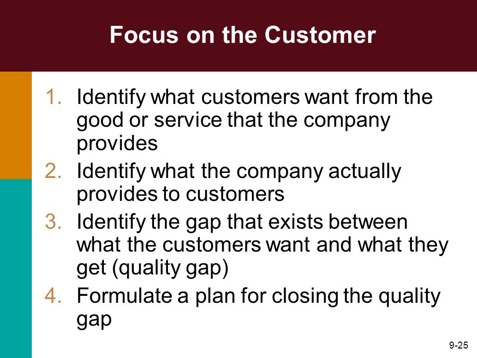 Focus on the Customer Identify what customers want from the good or service that the company provides.