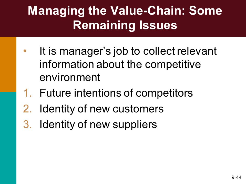 Managing the Value-Chain: Some Remaining Issues