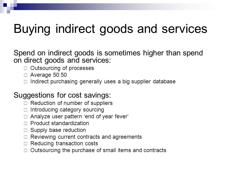 Buying indirect goods and services