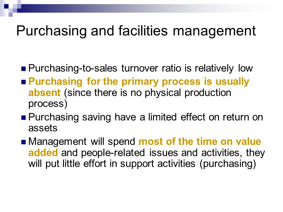 Purchasing and facilities management