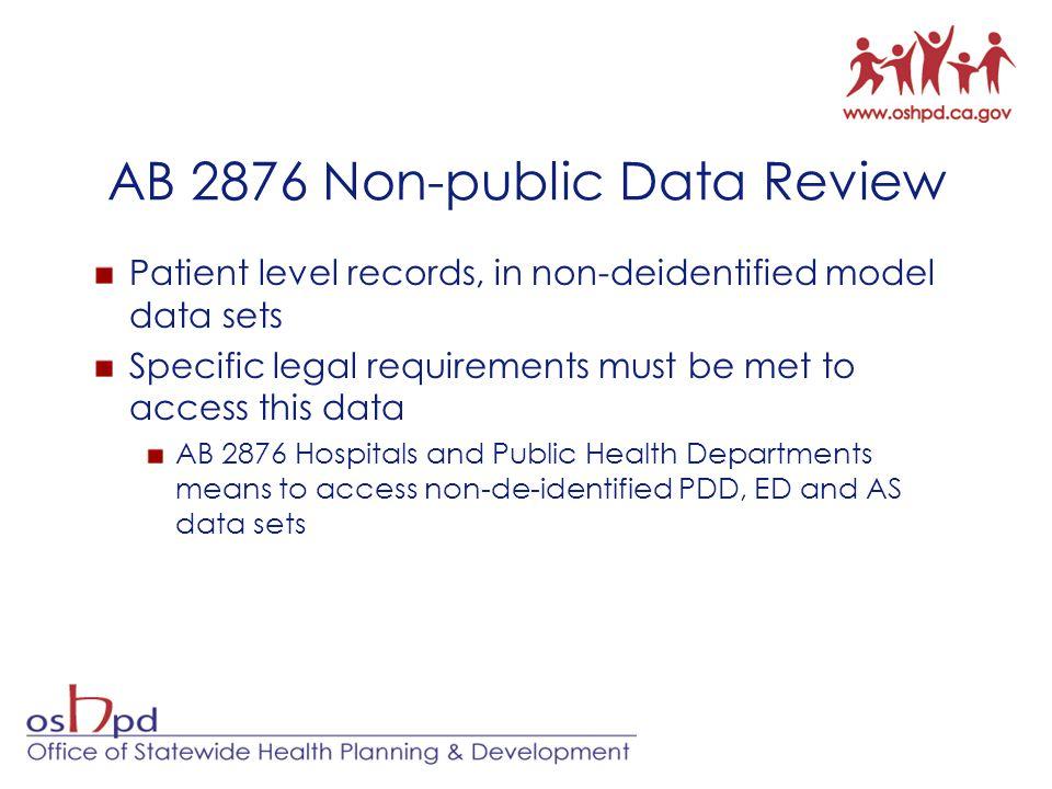 AB 2876 Non-public Data Review