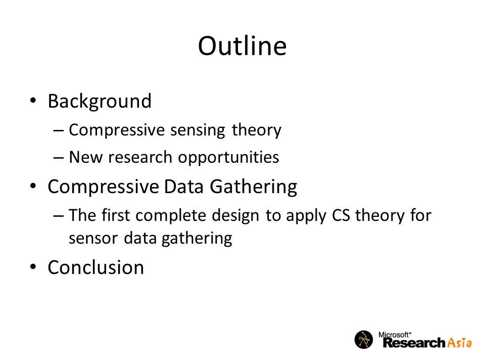 Outline Background Compressive Data Gathering Conclusion