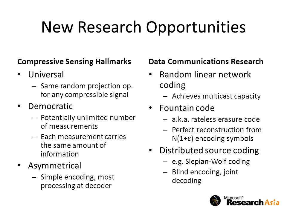 New Research Opportunities